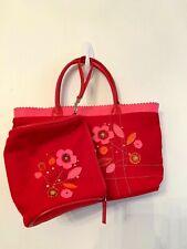 Avon Red Wool Blend Felt Handbag Small Tote with Barrel Wristlet Flower Design