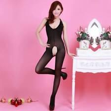 Bodysuit Lingerie Nightwear Crotchless Fish Net Body Stocking Halterneck Black