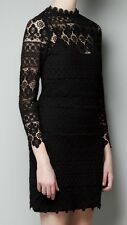 Rare! ZARA Black Crochet Lace Dress With Gold Back Zip Studded Diamanté Small XS