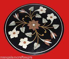 "23"" Black Marble Coffee Table Top Handmade Inlay Pietra dura Home Decor"