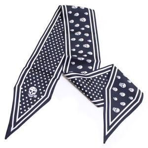 100% Silk Scarf Gothic Skull Printed Long Ribbon Double Layer Headband 117*10cm