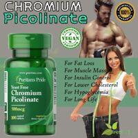 CHROMIUM PICOLINATE 500 mcg Weight Loss Diet Blood Sugar Supplement 100 Tablets