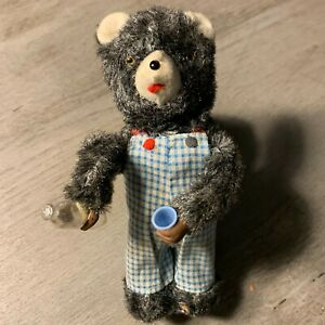 Vintage ALPS Thirsty Bear Wind-up Toy