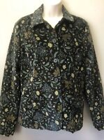 New Lands End Womens S 6-8 Sueded Gray Floral Button Front Jacket Blazer