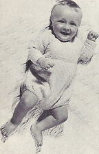 Vintage Knitting PATTERN to make Baby Long Sleeve Romper One Piece Creeper