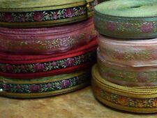 """Vintage Embroidered Jacquard Trim 1940s Ribbon 3/4"""" Trim Silk 1yd Made in France"""
