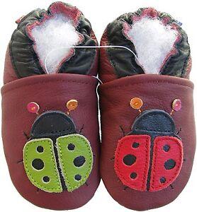 carozoo ladybug dark red 12-18m soft sole leather baby girl shoes