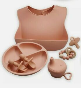 PINK Silicone Baby Feeding Gift Set bib, plate, utensils, cup cover, pacifier