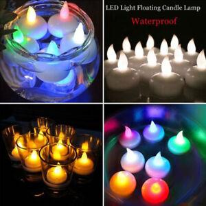 60X Waterproof LED Tea Light Candles Floating Electronic Water Sensor Flameless