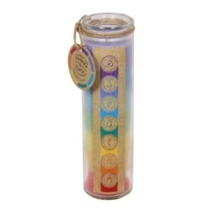1pce 20cm Chakra Lucky Seven Layered Coloured Candle In Glass Scented