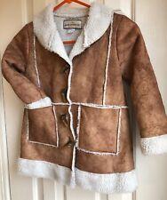American Widgeon Faux Suede Tan Coat Size 6 Girls Sherpa Toggle EUC