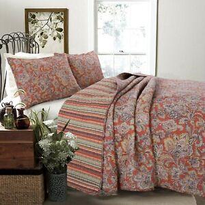Lara Spice Paisley Reversible 100%Cotton 3-Piece Quilt Set, Bedspread, Coverlet