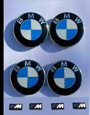 4x BMW Alloy Wheel Centre Caps (68mm) + M Sticker Emblems 17*9mm