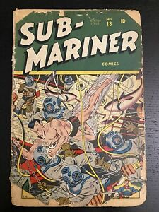 Sub-Mariner Comics #18 GOLDEN AGE 1945 Timely Schomburg shark cover RARE