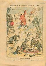 Caricature Anti-Coloniale Laïque Impôt Anthropophages Africa 1905 ILLUSTRATION
