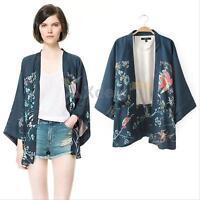 Retro Women Floral Loose Casual Chiffon Kimono Cardigan Jacket Coat Blouse Tops