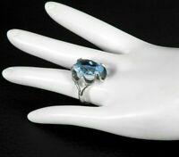 Vintage Solid 925 Sterling Silver Crystal Stone Ring Blue Modernist Industrial 7