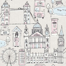 BLACK WHITE PINK LONDON CHILDRENS KIDS BOYS GIRLS FEATURE WALLPAPER RASCH 245905