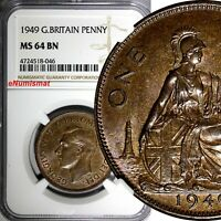 Great Britain George VI Bronze 1949 1 Penny NGC MS64 BN 1st Year Type KM# 869