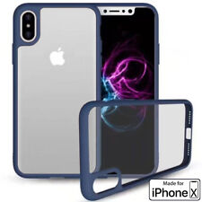 iPhone X Phone Case (TPU Mold & Colored Bumper + Transparent Back) Blue