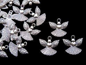 10 Pcs -  23mm Tibetan Silver Angel Charms Craft Jewellery Beading Pendant K66