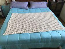 New Handcrafted Popcorn Stitch Crochet Beige Cream Afghan Blanket 42�x 56�