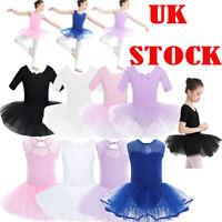 UK Kids Cutout Back Ballet Dress Girls Tutu Dance Leotard Skirt Latin Dancewear