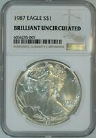 1987 American Silver Eagle Dollar $1 / Certified NGC BU 🇺🇸