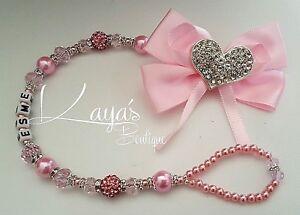 Romany Bling *Diamante Heart* Big Bow Shamballa Dummy Clip *Pink/Lilac/Red*