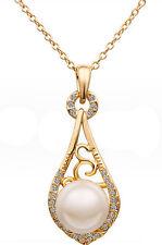 Eleganti Vintage oro e bianco Perla Goccia D'acqua Collana Con Ciondolo N275