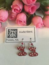 Silvertone Minnie Mouse BOW Traditional Red White Dot Bow Dangle Earrings