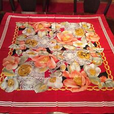"""CAMEILLA LADIES 40"""" SQUARE, SILK SCARF WITH LOVELY ROLLED, HAND STITCHED HEM"""