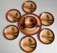 Noritake Morimura Cottage Lake Scene Platter Bowl 6 Salad / Dessert Plates Set