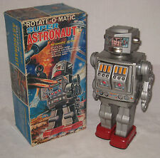 Japan Super-o-matic Astronaut Robot Battery-op NMIB Works Well Tin Litho #BP42