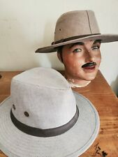 2 x Marks & Spencer Men's Trilby Hats Chambray & Khaki Colours Size Medium BNWOT