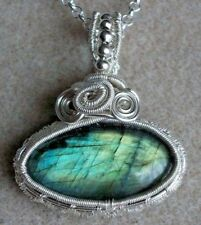 Labradorite  Gemstone Cabochon Wire Wrappped Pendant Necklace