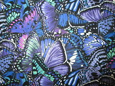 Butterfly Dramatic Butterflies Blue Purple Cotton Fabric FQ