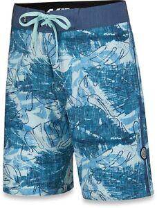 New Dakine Men's Kailua Boardshorts Size 32 Sky Blue Washed Palm Board Shorts
