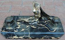 Antique Art Deco Dancer Desk Set Inkwell / Inkstand & Blotter Portoro Marble