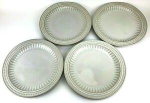 "Set of 4 Bombay & Company 11-1/4"" Dinner Plates Cream Dots Stripes Dinnerware"