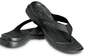 Men's CROCS Santa Cruz Leather Flip Sandals Black
