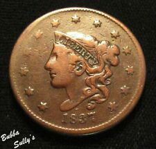 1837 Coronet Head Large Cent <> N-7 R1 Arc Crack 'States Of' <> F Details