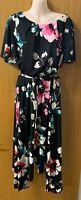 Neuf Evans Grande Taille 16-28 RRP £ 58.00 en mousseline de soie nude blush rose Floral Midi Dress