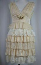 e7326355 Dolce Gabbana Women's Dress Size 4 Ivory Tiered Jeweled Lace Boho Silk