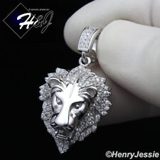 MEN 925 STERLING SILVER LAB DIAMOND ICED OUT SMALL LION KING HEAD PENDANT*SP185