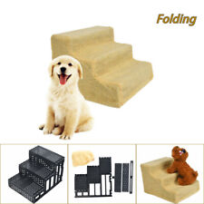 3 Step Pet Stairs Small Dog Cat Ladder Ramp Climb Steps Suede for Couch or Bed A