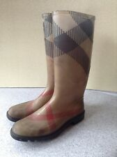 Burberry Women's Rain Boots Size 39 Plaid Nova Check Classic Made In Italy