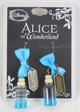 New Disney Alice in Wonderland Curiouser Bottle Bow Charm Fishhook Drop Earrings