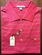 NEW Peter Millar Tango Pink Striped Priorities Preserved NC Golf Shirt Size M