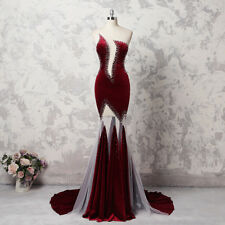 Shiny Burgundy Velvet Beaded Mermaid Evening Party Prom Dress Celebrity New Gown